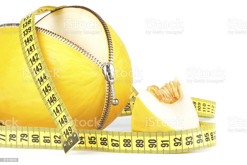Unzipped melon and measuring tape royalty-free stock photo