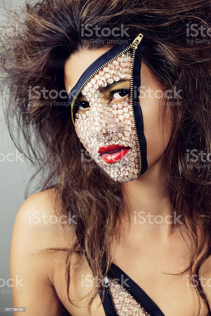 Unzipped: sexy alien two-faced woman royalty-free stock photo