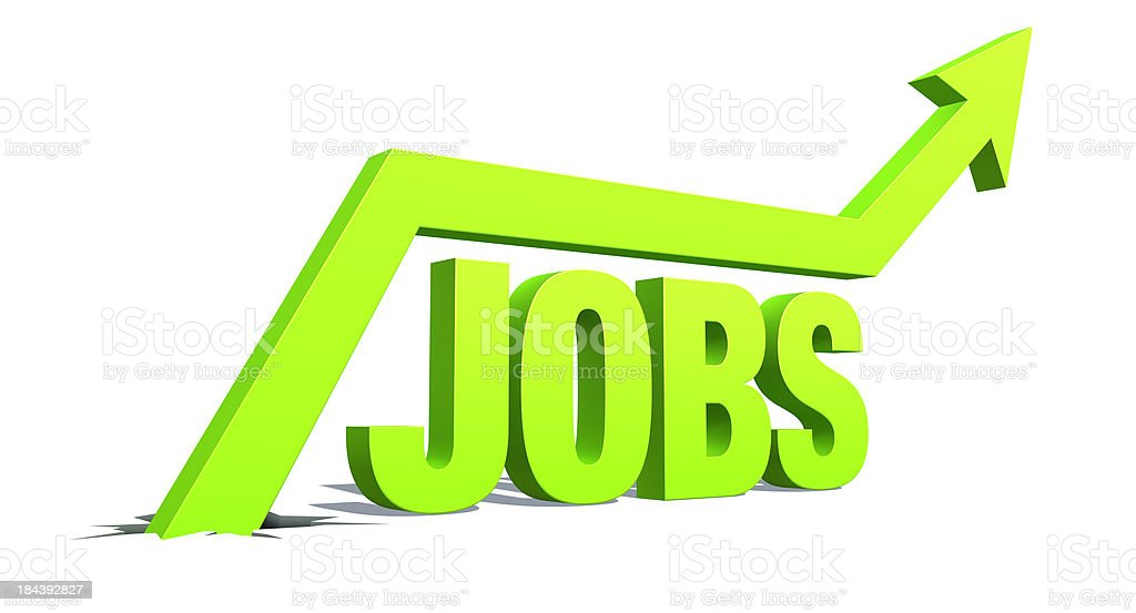 Up Arrow with word: Jobs stock photo