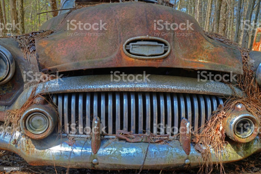 Up close and personal with old rustic truck hidden in the woods. stock photo