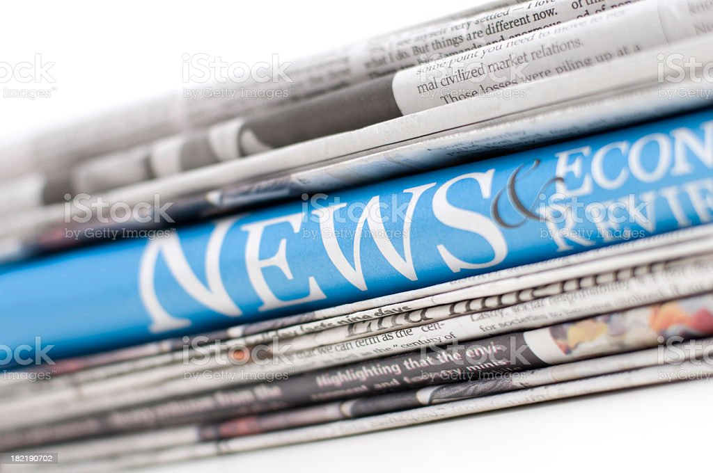 Up close of economy newspapers royalty-free stock photo