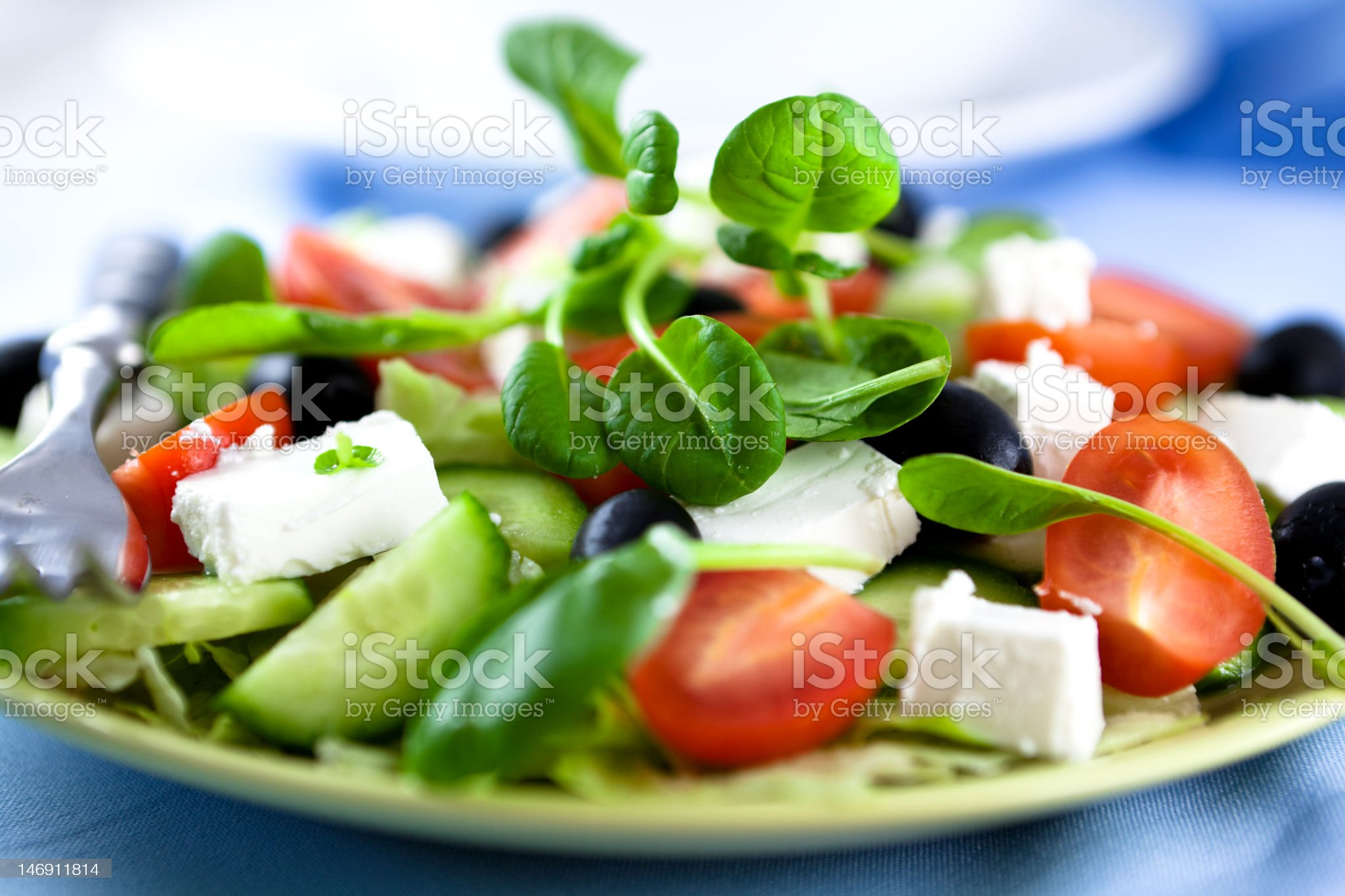 Up close photo of a green salad royalty-free stock photo