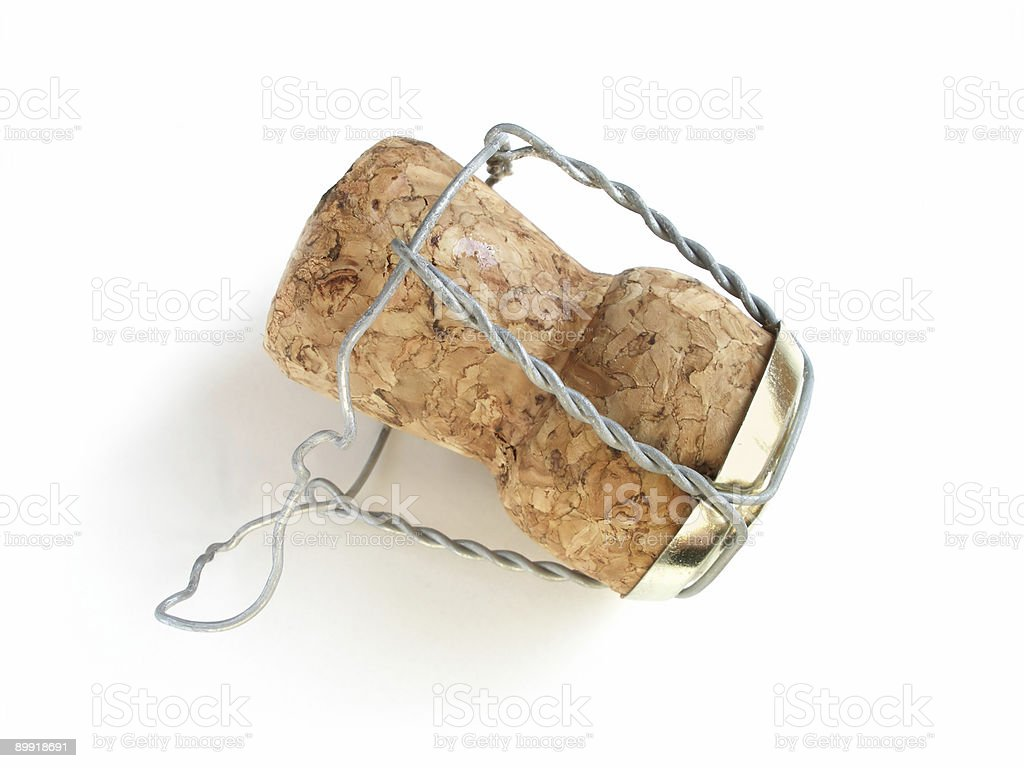 Up close photo of a wire secured cork stock photo