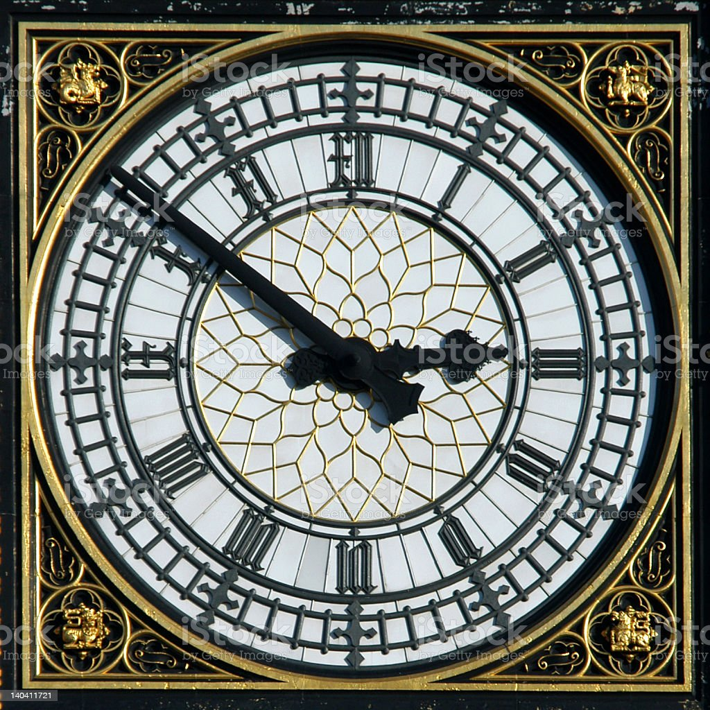 Up close picture of Big Ben showing the ornate face details stock photo