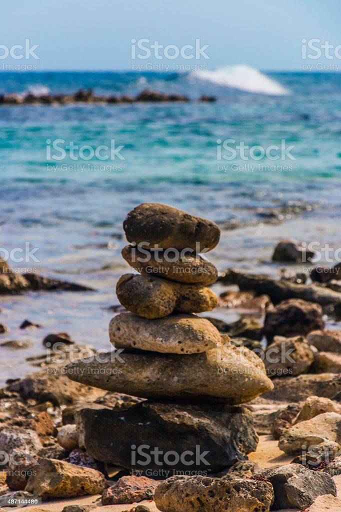 Up close rock stacked stock photo
