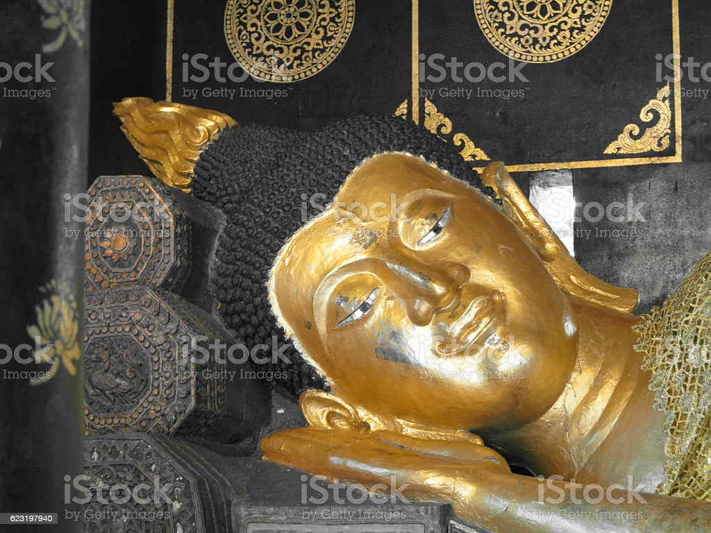 Up Close with the Reclining Buddha stock photo