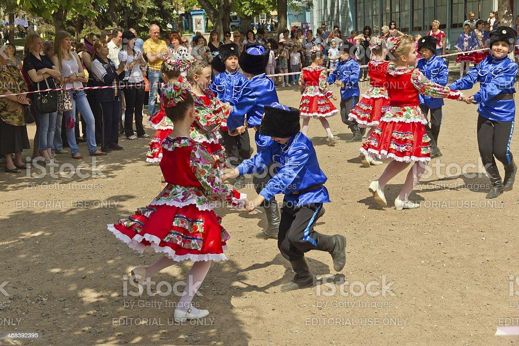 Up Dancing children. stock photo