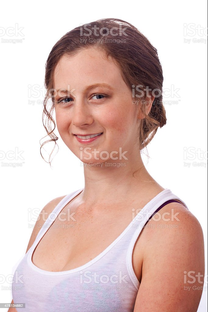 Up Do Hair, pretty young woman facing camera isolated stock photo