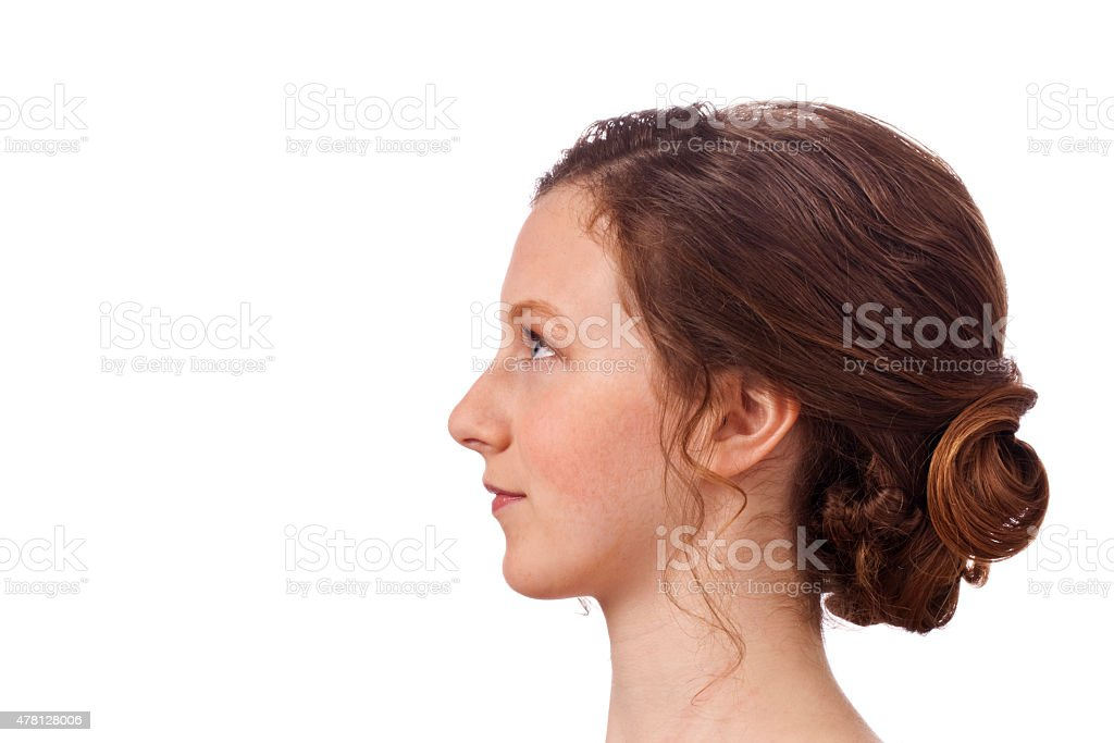 Up Do Hair Profile, pretty young woman isolated on white stock photo