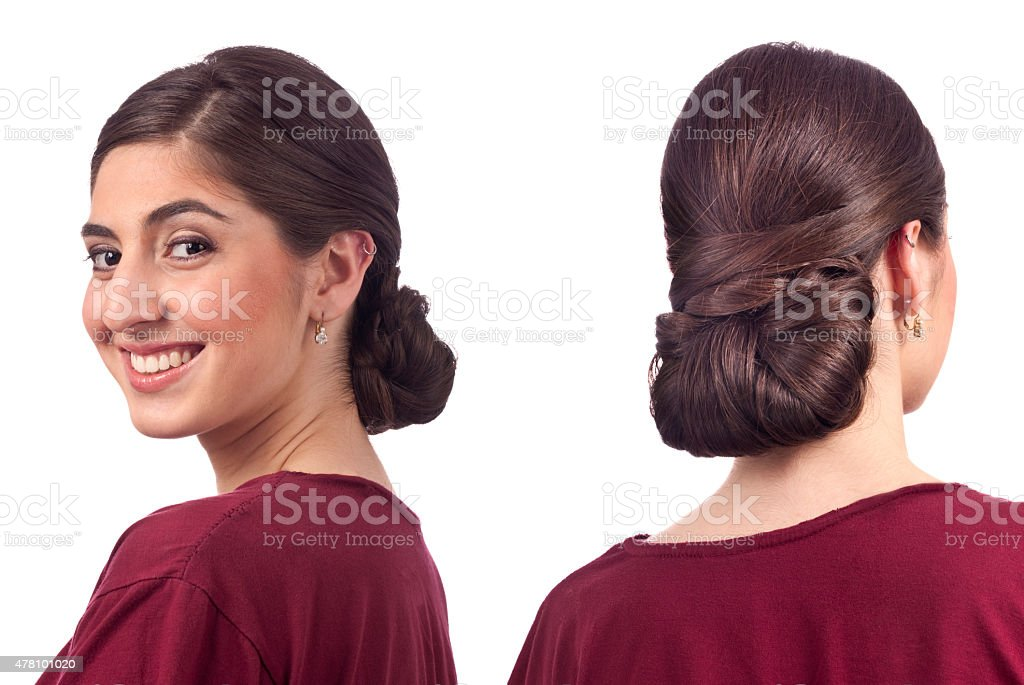 Up Do Hair, two picture composite front and back view stock photo