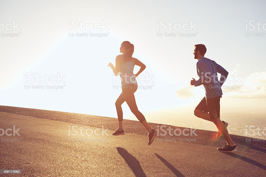Up early for their morning jog stock photo