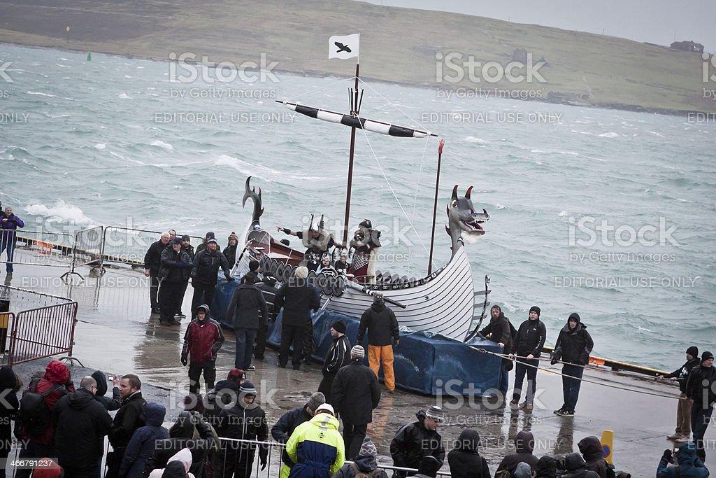 Up Helly Aa 2014 Viking Galley Ship royalty-free stock photo