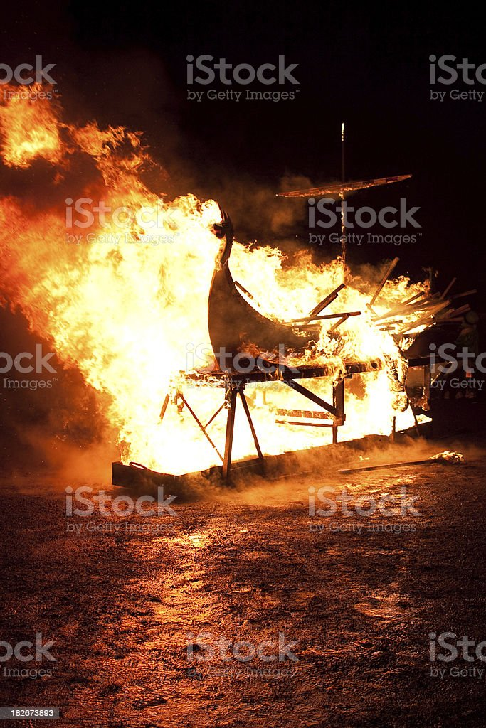 Up Helly Aa Burning Galley Ship royalty-free stock photo
