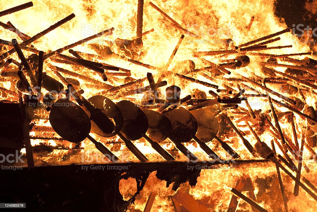 Up Helly Aa Burning Viking Galley Shields royalty-free stock photo