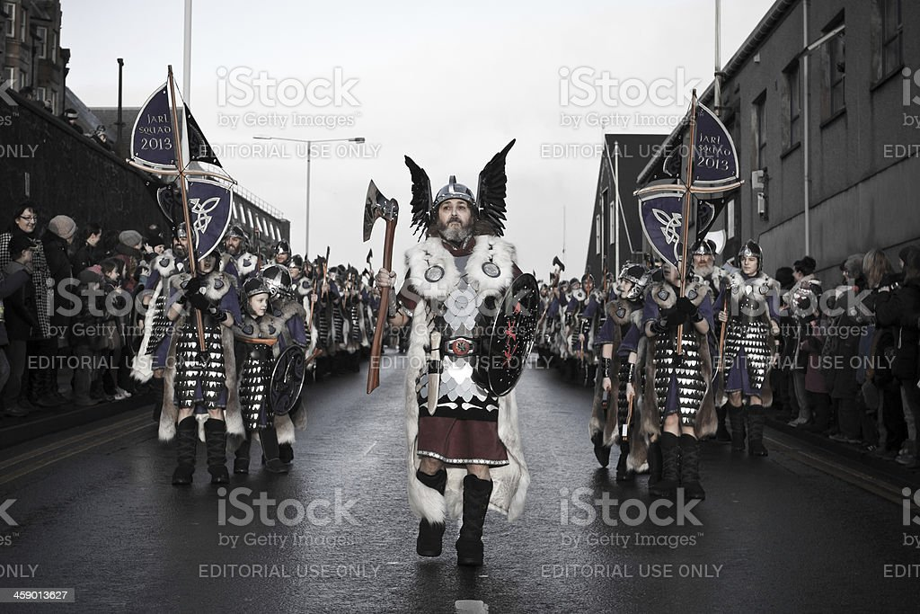 Up Helly Aa Fire Festival in Shetland Isles, Scotland, UK royalty-free stock photo
