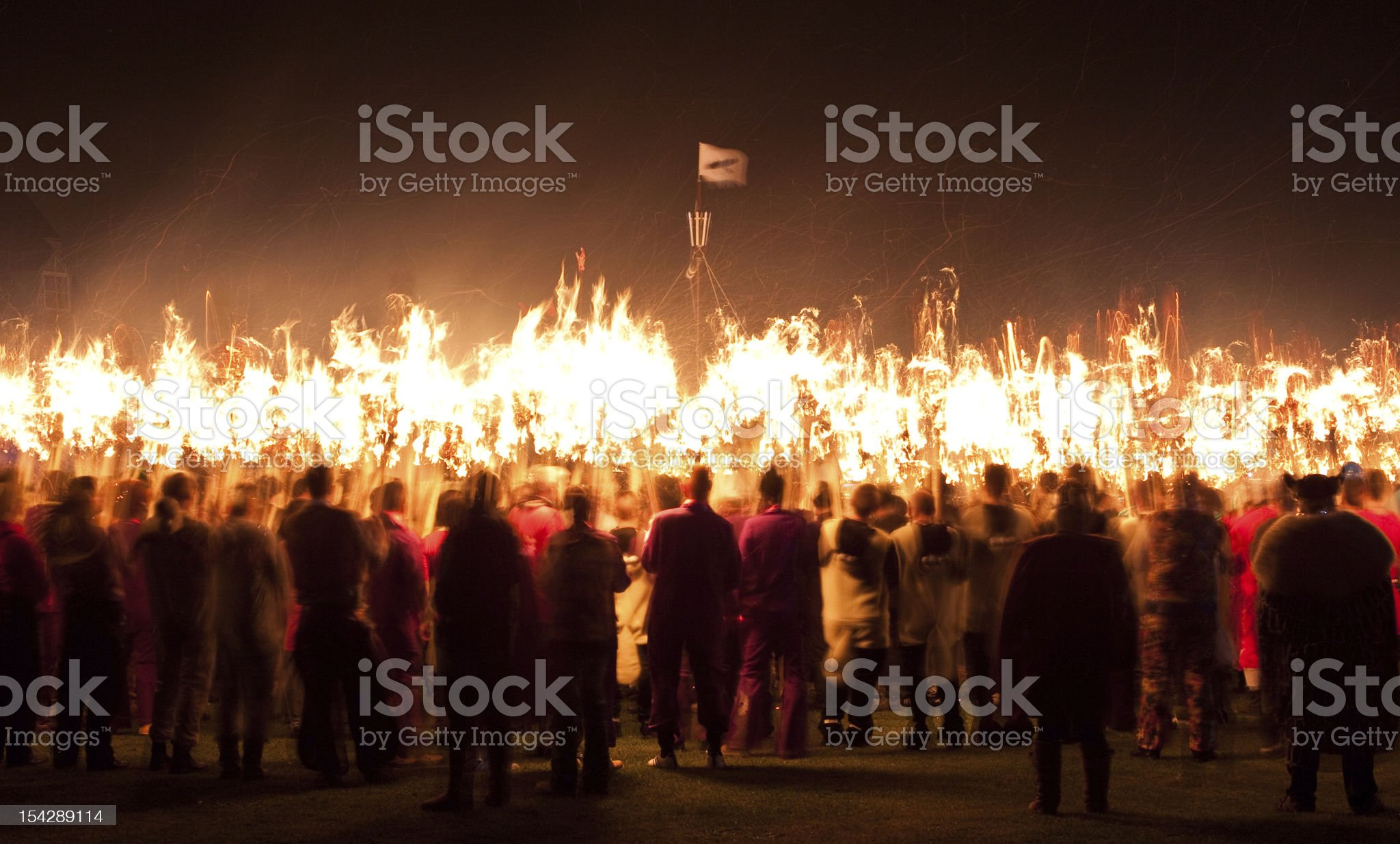 Large crowd at fire festival Up Helly Aa in Scotland royalty-free stock photo