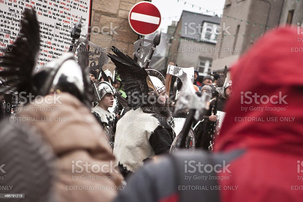 Up Helly Aa Guizer Jarl Cheering the Crowds royalty-free stock photo