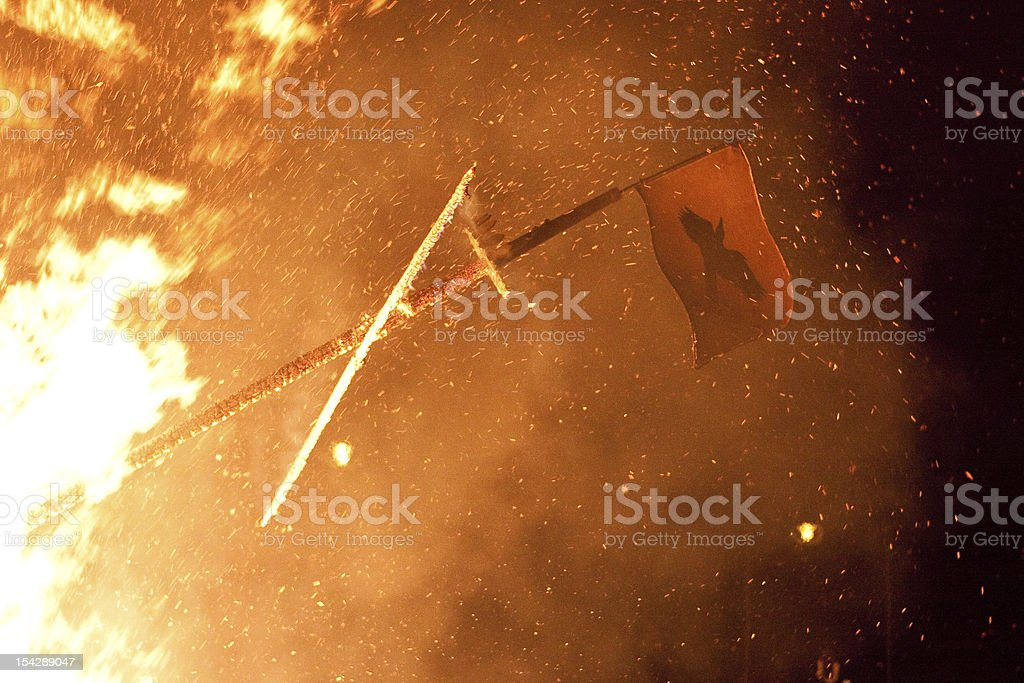 Up Helly Aa Raven Flag royalty-free stock photo