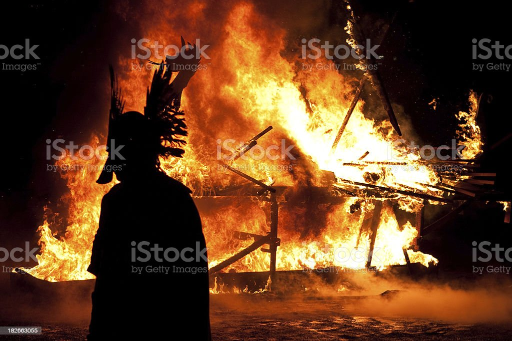 Up Helly Aa Viking Silhouette royalty-free stock photo