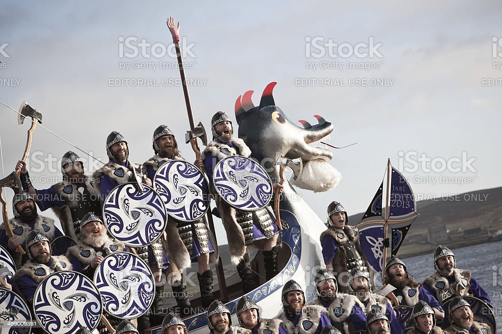 Up Helly Aa Vikings Aboard Galley royalty-free stock photo