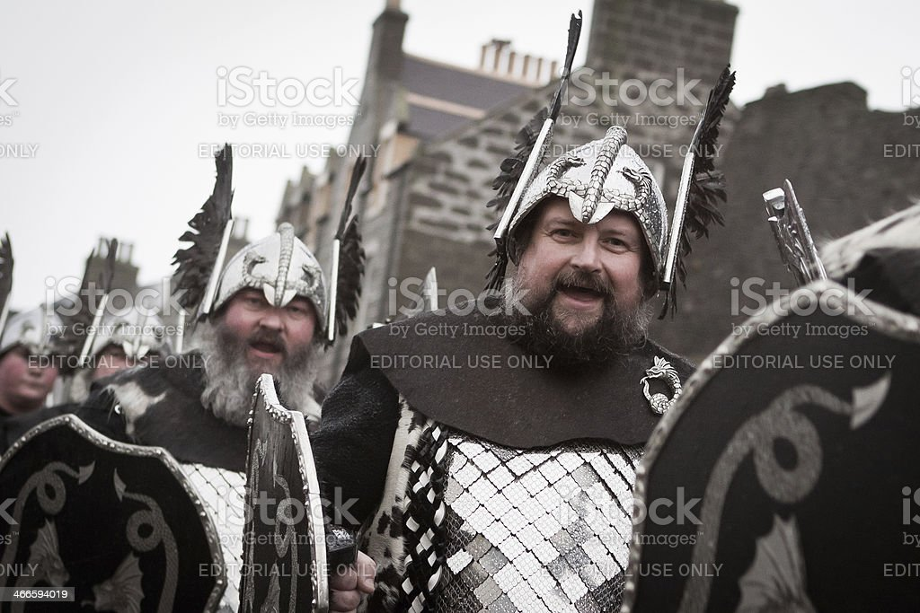 Up Helly Aa Vikings Walk in the Ranks royalty-free stock photo