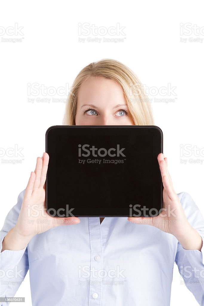 Up Looking Woman Hiding Behind Touch Pad Tablet royalty-free stock photo