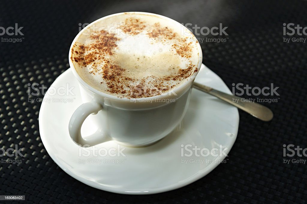 ?up of a hot coffee on the table royalty-free stock photo