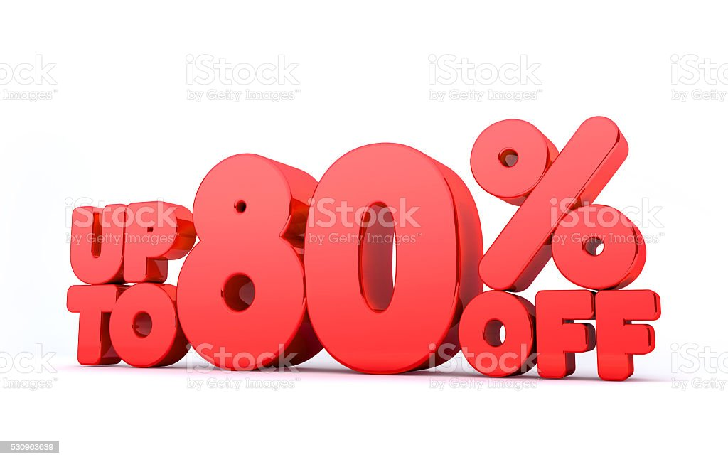 Up to 80% Off 3D Render Red Word Isolated stock photo