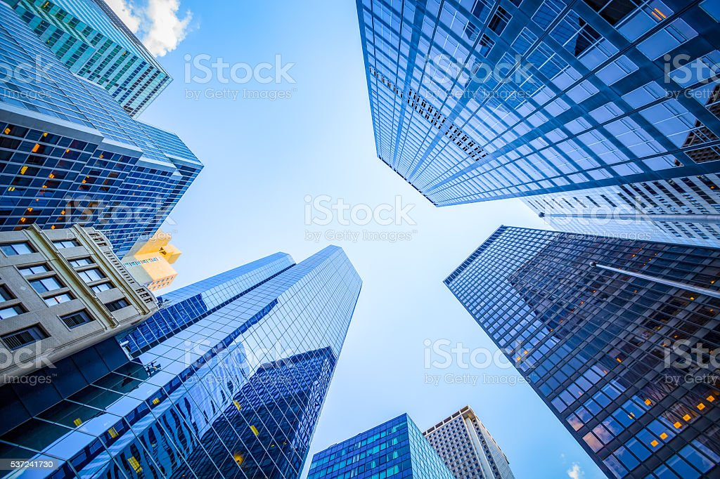 Up view in financial district stock photo