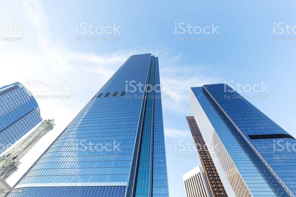 up view of modern office building in los angeles stock photo