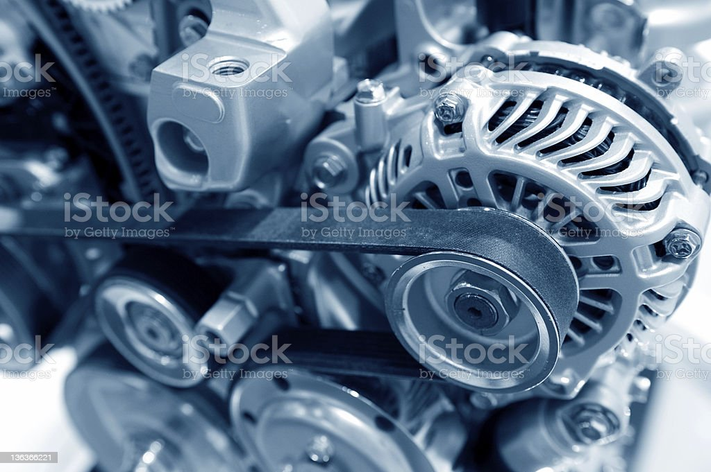 Up-close image of modern car engine royalty-free stock photo