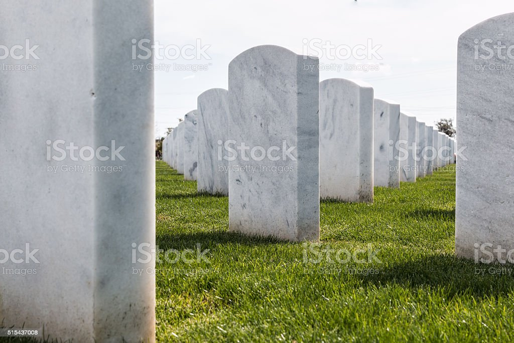 Up-Close View of National Cemetery Headstones in San Diego stock photo