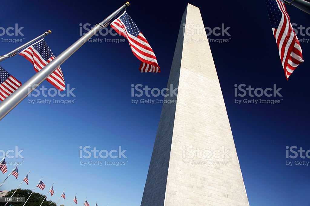 Upclose view of Washington Monument on clear blue day  royalty-free stock photo