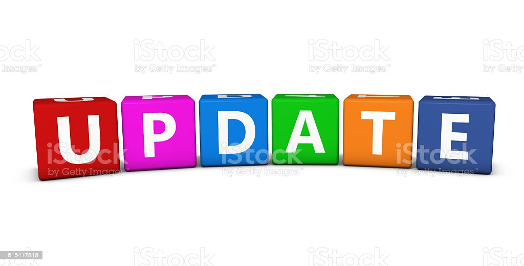 Update Sign Colorful Cubes stock photo