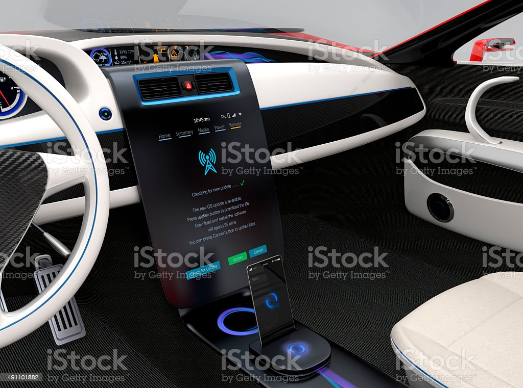 Update vehicle software just touch car's center console screen. stock photo
