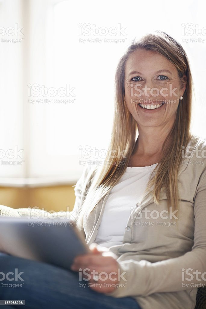 Updating her blog royalty-free stock photo