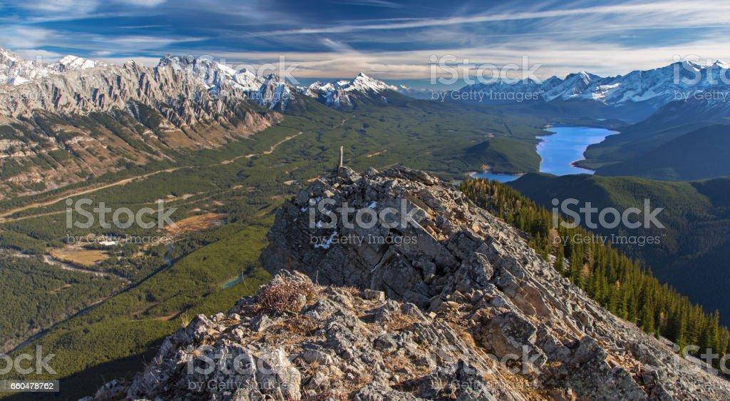 Uper Kananaskis Lake Lawson Mountain Summit stock photo