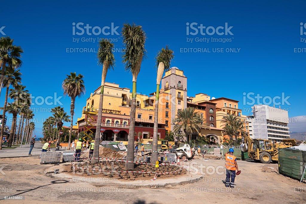 Upgrading pavement in Las Americas, Adeje, Tenerife, Spain. stock photo