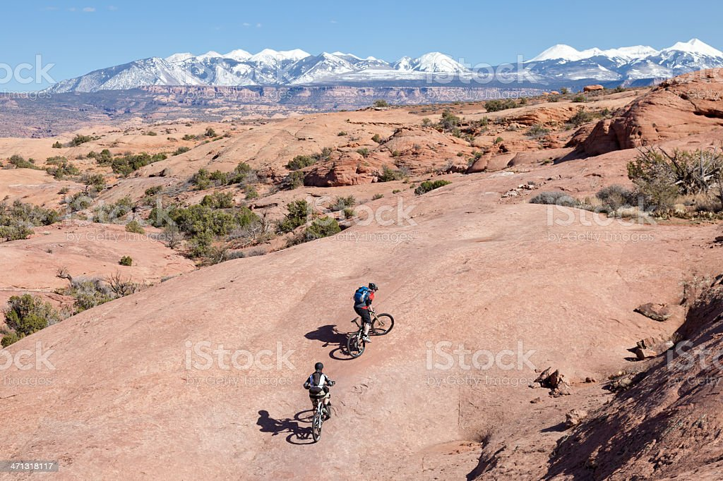 Uphill at slickrock trail, Moab, Utah stock photo