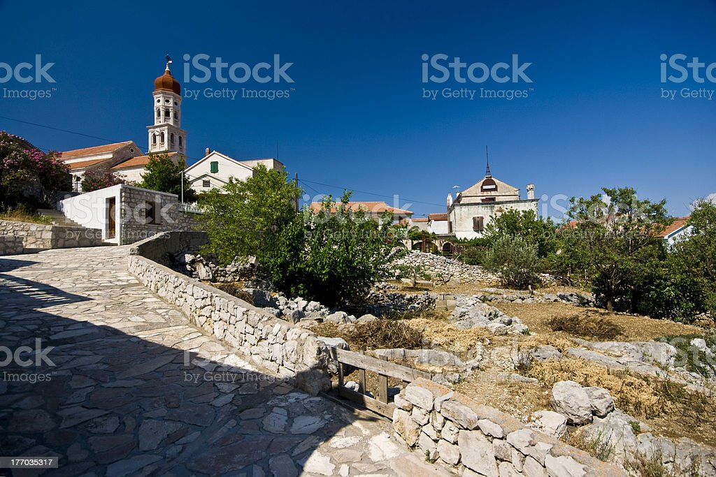 Uphill panorama of Betina royalty-free stock photo