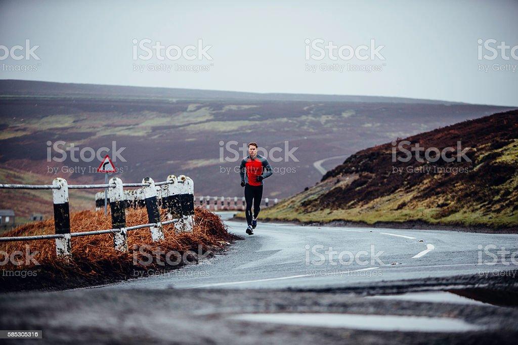 Uphill Running stock photo