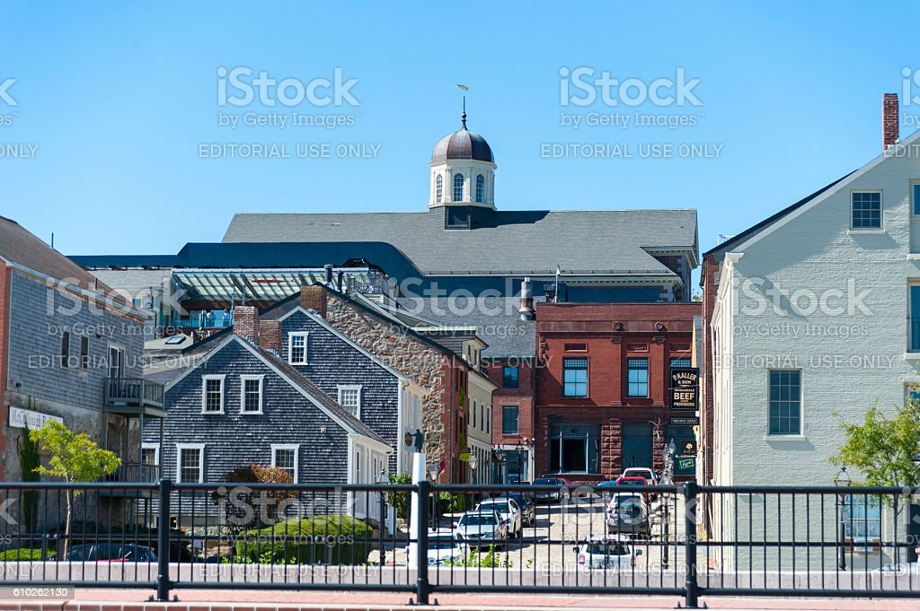 Uphill view from New Bedford waterfront stock photo