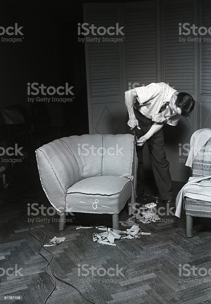 Upholsterer at work stock photo