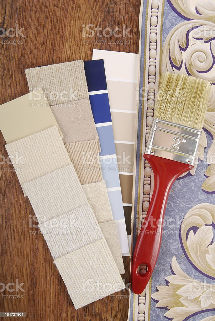 upholstery and paint color choosing for interior royalty-free stock photo