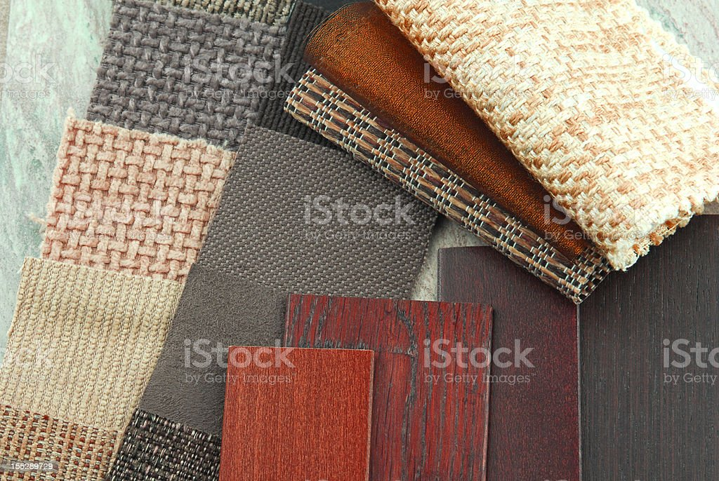 upholstery and wood samples stock photo