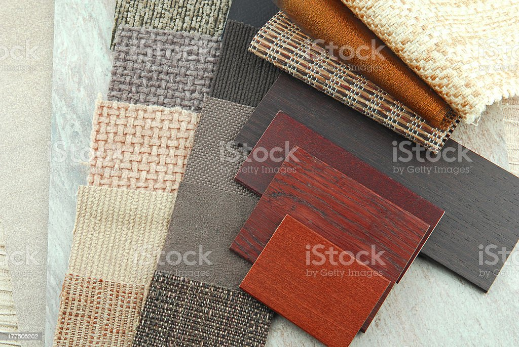 upholstery and wood samples,decoration planning stock photo