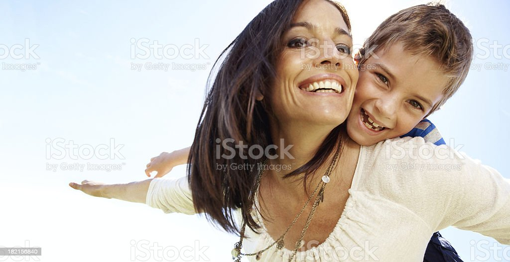 Uplifted by my mom's love stock photo