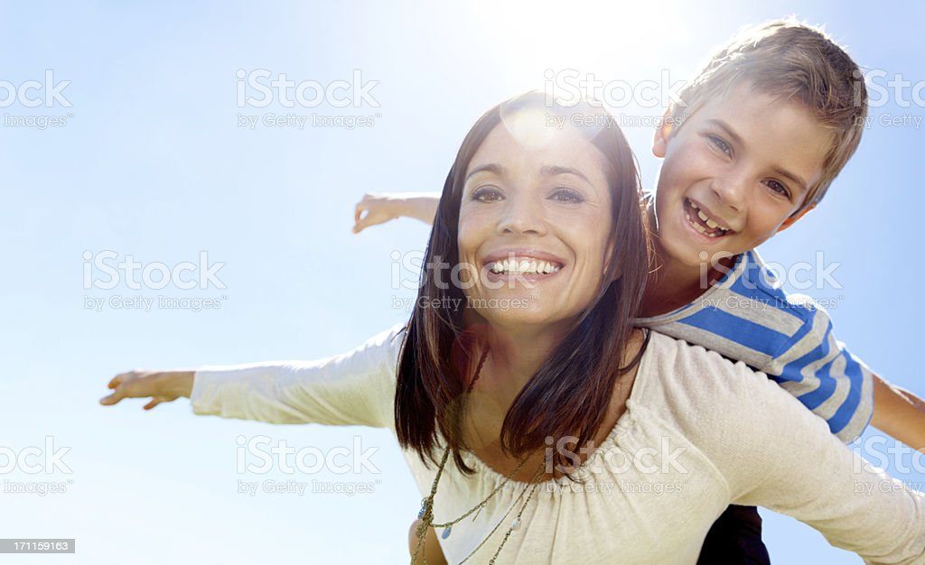 Uplifted by my mom's loving care stock photo