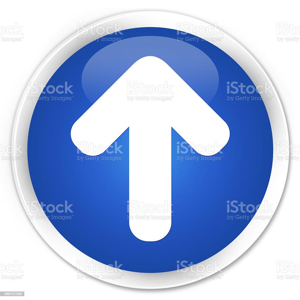 Upload arrow icon blue glossy round button stock photo