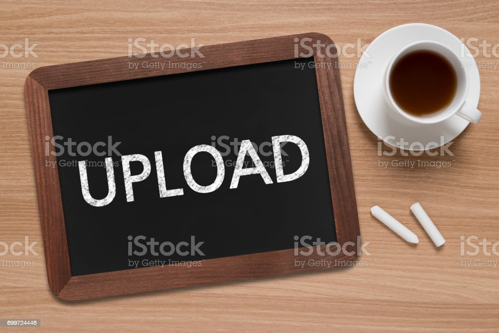 Upload - Business Chalkboard Background stock photo